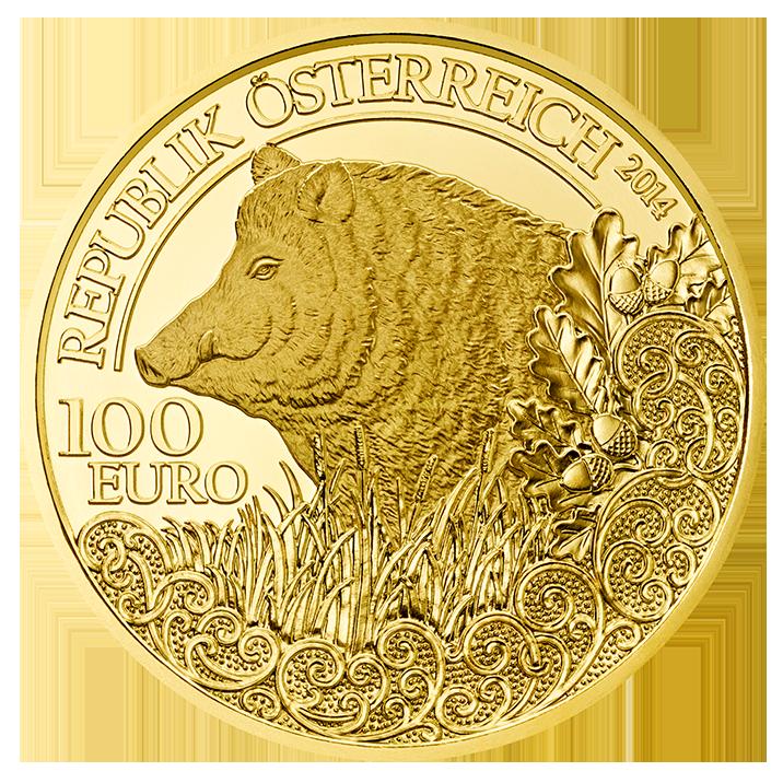 100 Euro Goldmünze Das Wildschwein Wertseite 100 Euro Goldmünze Das Wildschwein