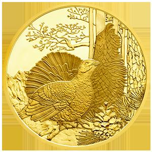 100 Euro Goldmünze Der Auerhahn Bildseite 100 Euro Goldmünze Der Auerhahn