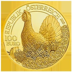 100 Euro Goldmünze Der Auerhahn Wertseite 100 Euro Goldmünze Der Auerhahn
