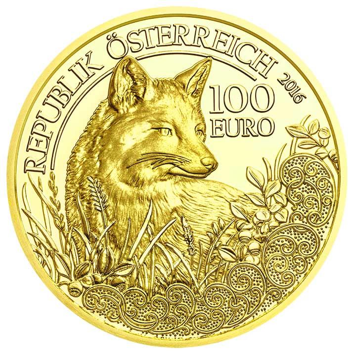 100 Euro Goldmünze Der Fuchs Wertseite 100 Euro Goldmünze Der Fuchs