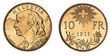 220px 10 CHF Vreneli 1911 Goldvreneli