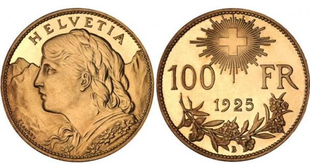 800px 100 CHF Vreneli 1925 608x322 43. Internationale Münzenmesse Zürich