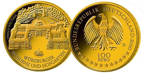 100 gold euro 2010 wuerzburg 608x310 Der deutsche Gold Euro 2010   Weltkulturerbestadt Würzburg
