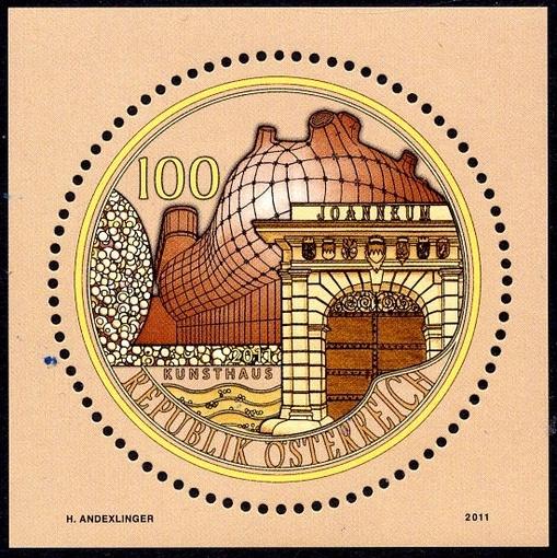 Briefmarke Joanneum 50 Euro Goldmünze und Briefmarke – Joanneum in Graz