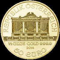 Wiener Philharmoniker Goldmünze Wertseite 1 2 Unze e1390378455628 Wiener Philharmoniker