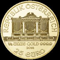 Wiener Philharmoniker Goldmünze Wertseite 1 4 Unze e1390378475325 Wiener Philharmoniker
