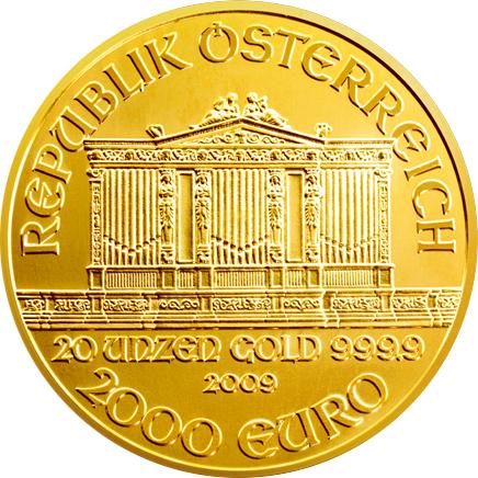 Wiener Philharmoniker Goldmünze Wertseite 20 Unzen 2009 Wiener Philharmoniker Platin