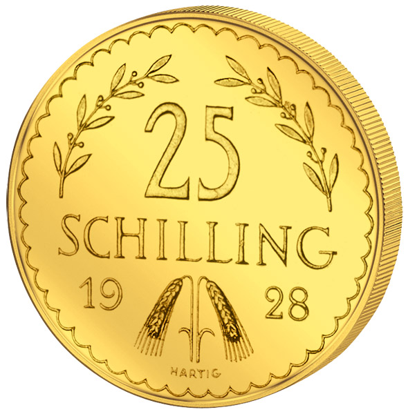 25 Schilling Goldmünze Revers 1. Republik 25 Schilling Goldmünze