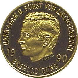 Hand Adam II Avers Goldmünzen aus dem Fürstentum Liechtenstein