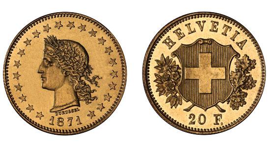 1871 20er 1 Helvetia Goldmünze