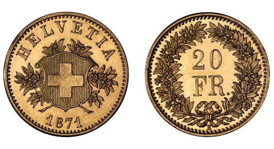 1871 20er 2 Helvetia Goldmünze