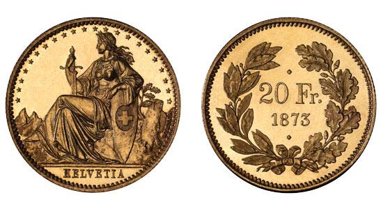 1873 20er 1 Helvetia Goldmünze