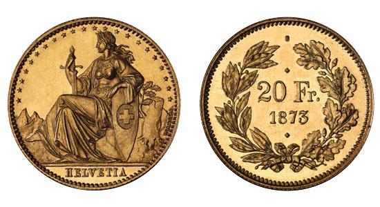 1873 20er 2 Helvetia Goldmünze