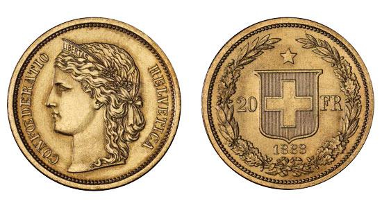 1883 20er Die Lateinische Münzunion