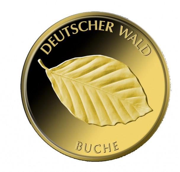 Deutscher Wald Buche 2011 Avers 608x579 Deutsche Goldmünzen in Euro