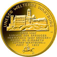 100 Euro Goldm%C3%BCnze UNESCO Weltkulturerbe Warburg Bildseite UNESCO Weltkulturerbe Wartburg 100 Euro Goldmünze