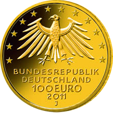 100 Euro Goldm%C3%BCnze UNESCO Weltkulturerbe Warburg Wertseite UNESCO Weltkulturerbe Wartburg 100 Euro Goldmünze