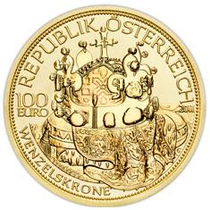 Die Wenzelskrone B%C3%B6hmens Wertseite 100 Euro Goldmünze   Die Wenzelskrone Böhmens