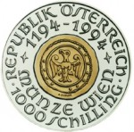 1000 Schilling Bimetallmünze 800 Jahre Münze Wien Wertseite e1330501383923 Österreichische Bimetallmünzen