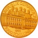 1000 Schilling Goldmünze 50 Jahre 2. Republik Wertseite e1327435080830 Schilling Goldmünzen