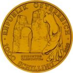 1000 Schilling Goldmünze Heidentor Carnuntum Wertseite e1327435644227 Schilling Goldmünzen