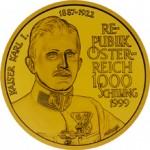 1000 Schilling Goldmünze Kaiser Karl I. Wertseite e1327435608641 Schilling Goldmünzen