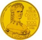 1000 Schilling Goldmünze Kaiserin Elisabeth Wertseite e1327435554478 Schilling Goldmünzen