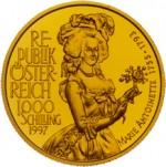 1000 Schilling Goldmünze Marie Antoinette Wertseite e1327434718475 Schilling Goldmünzen