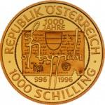 1000 Schilling Goldmünze Ostarrichi Wertseite e1327435105136 Schilling Goldmünzen