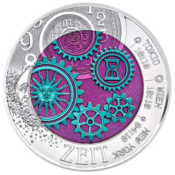25 Euro Niob Die Zeit Bildseite 25 Euro Silber Niob Bimetallmünze – Die Zeit