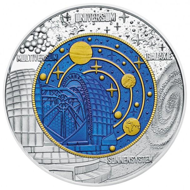 25 Euro Niob Kosmologie Bildseite 608x608 25 Euro Silber Niob Bimetallmünze – Kosmologie