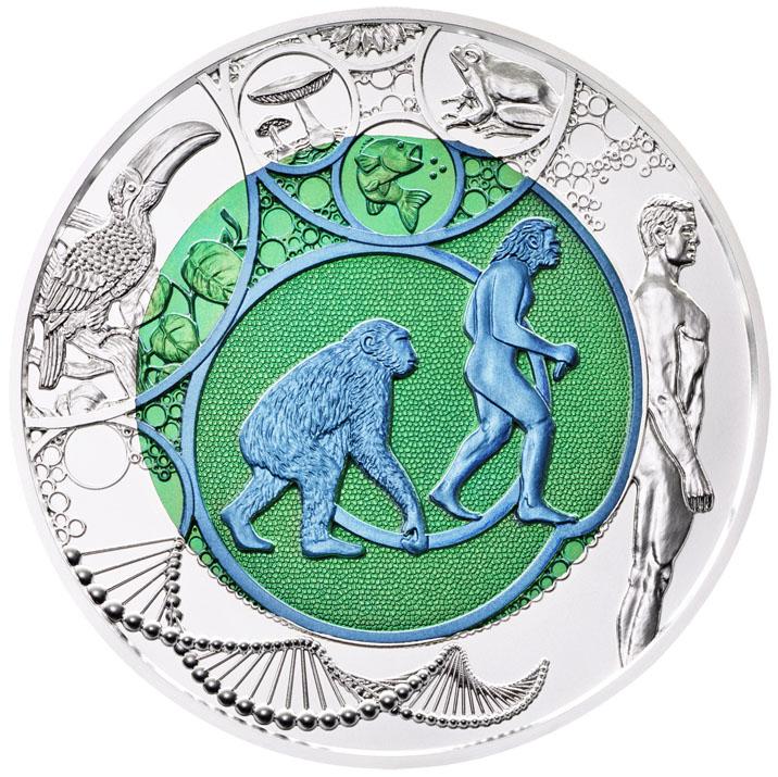 25 Euro Niob REvolution in zwei Farben Bildseite 25 Euro Silber Niob Bimetallmünze – Evolution