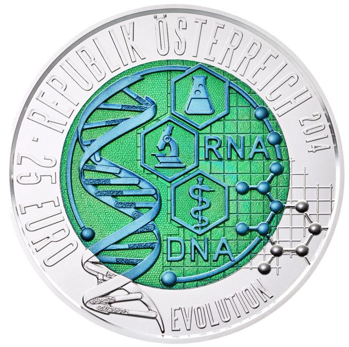 25 Euro Niob REvolution in zwei Farben Wertseite 25 Euro Silber Niob Bimetallmünze – Evolution