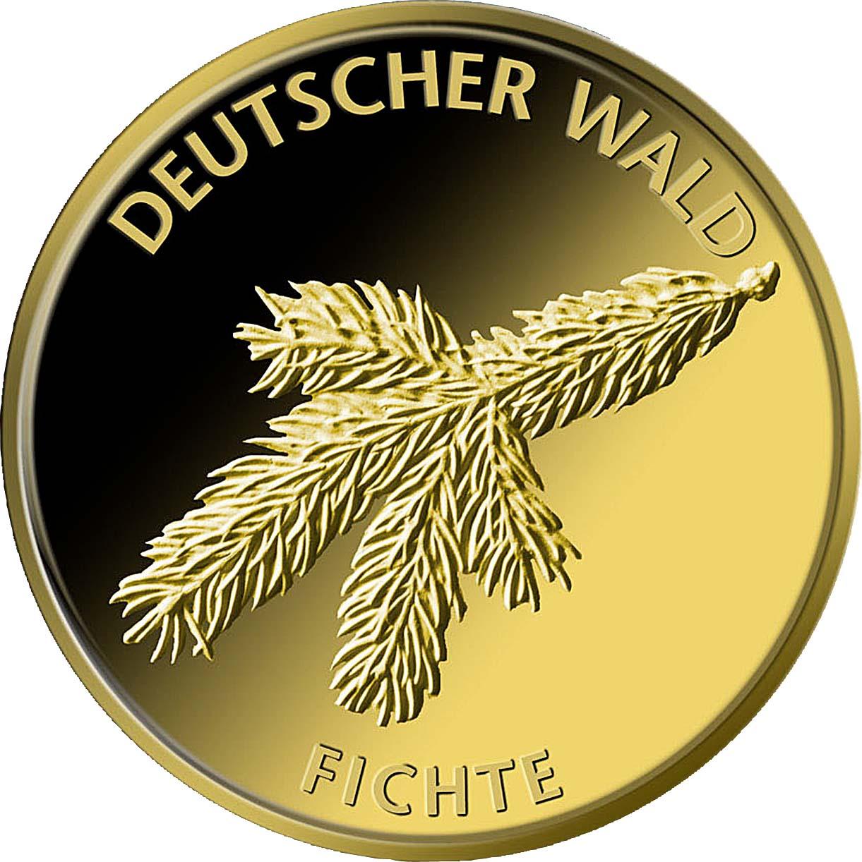 20 Euro Goldmünze Deutscher Wald Fichte 2012 Bildseite Goldmünze Deutscher Wald   Fichte