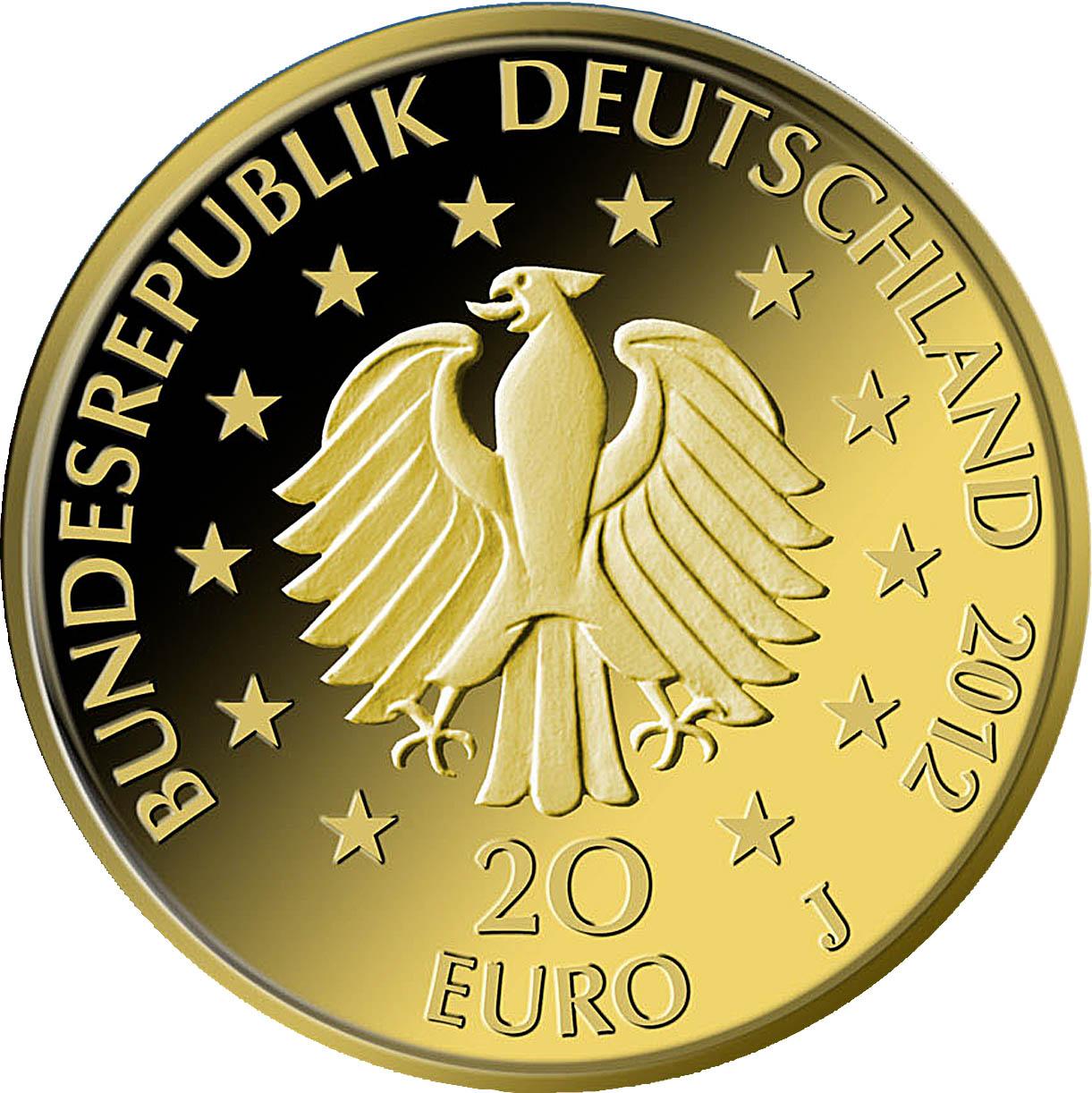20 Euro Goldmünze Deutscher Wald Fichte 2012 Wertseite Goldmünze Deutscher Wald   Fichte