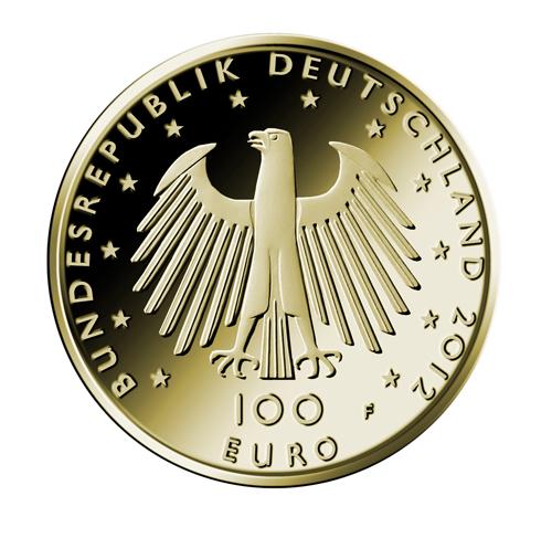 100 Euro Goldmünze UNESCO Weltkulturerbe Aachen Wertseite 100 Euro Goldmünze UNESCO Weltkulturerbe Dom zu Aachen