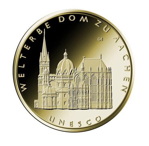 100 Euro Goldmünze UNESO Weltkulturerbe Aachen Bildseite 100 Euro Goldmünze UNESO Weltkulturerbe Aachen Bildseite