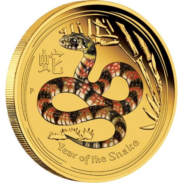 0 2013 Year Of The Snake Gold Proof Coloured Coin Reverse 608x608 Australischer Lunar  – Das Jahr der Schlange 2013