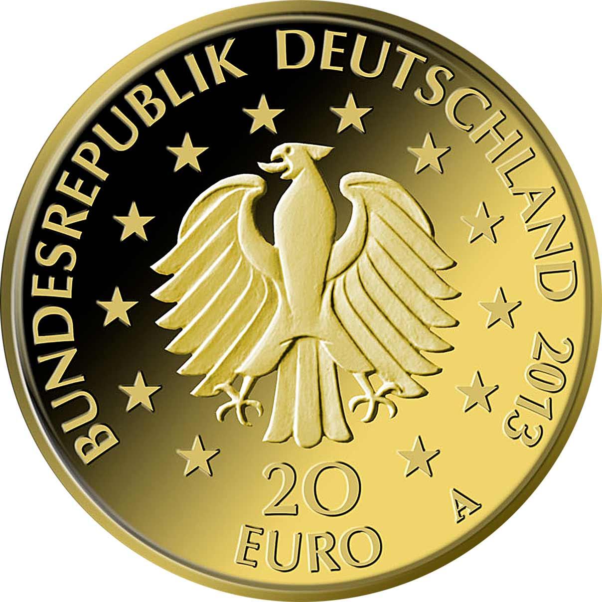 20 Euro Goldmünze Deutscher Wald Kiefer 2013 Wertseite 20 Euro Goldmünze Deutscher Wald Kiefer
