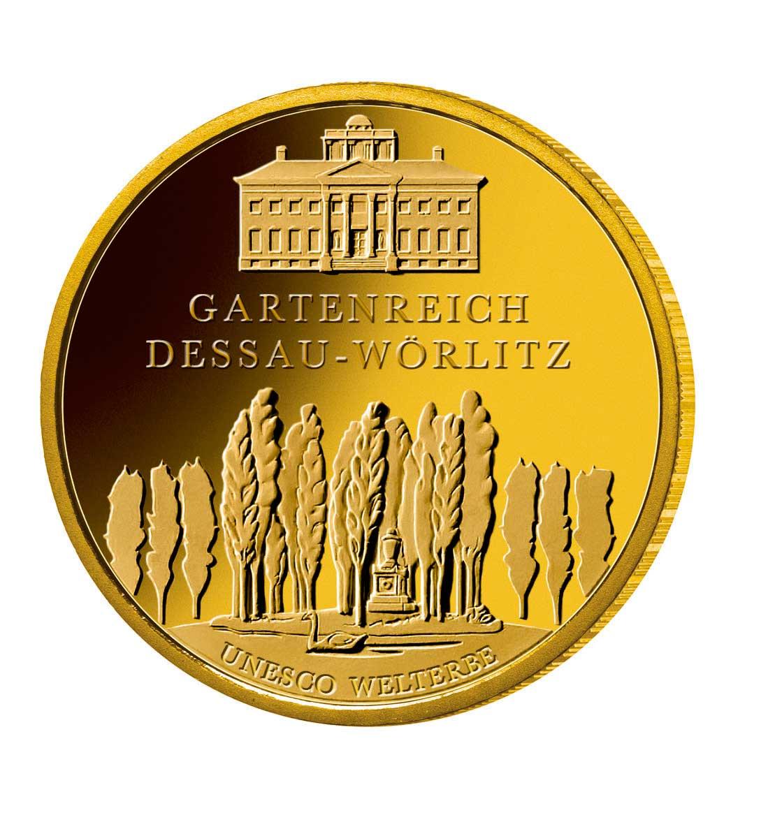 100 Euro Goldmünze UNESCO Weltkulturerb Dessau Wörlitz Bildseite 100 Euro Goldmünze Gartenreich Dessau Wörlitz