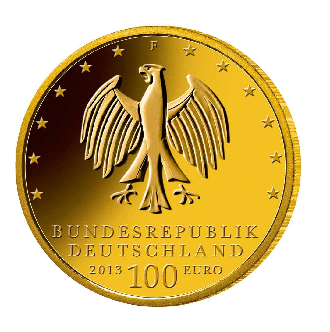 100 Euro Goldmünze UNESCO Weltkulturerbe Dessau Wörlitz Wertseite 100 Euro Goldmünze Gartenreich Dessau Wörlitz