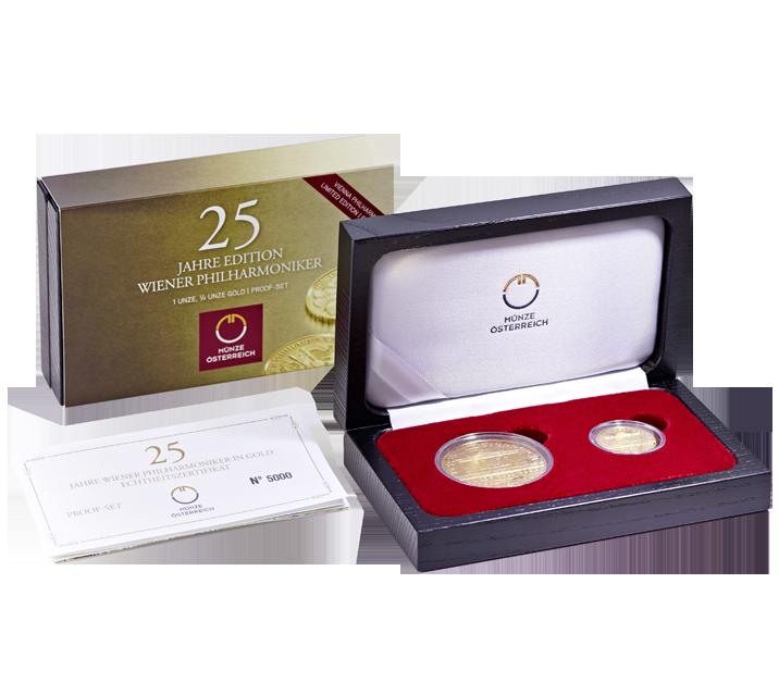Wiener Philharmoniker Proof Set 25 Jahre Wiener Philharmoniker Goldmünzen