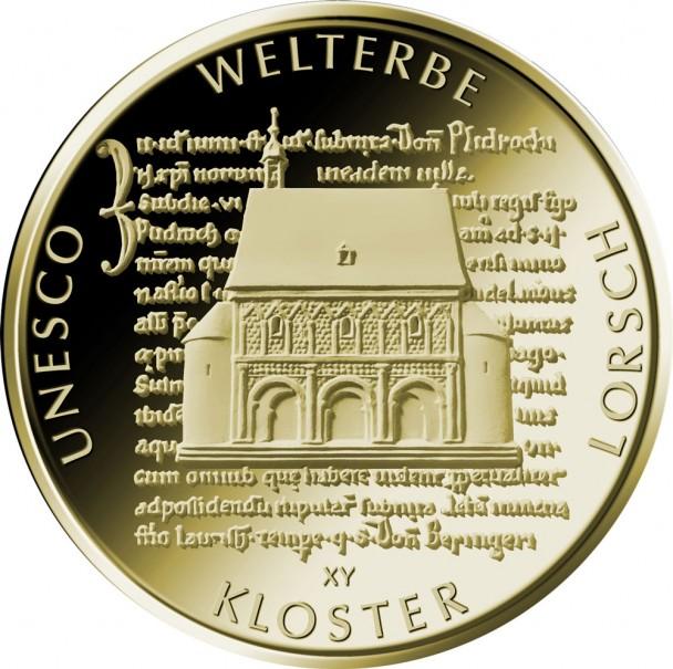 100 Euro Goldmünze UNESCO Welterbe Lorsch Bildseite 608x605 Deutsche Goldmünzen in Euro