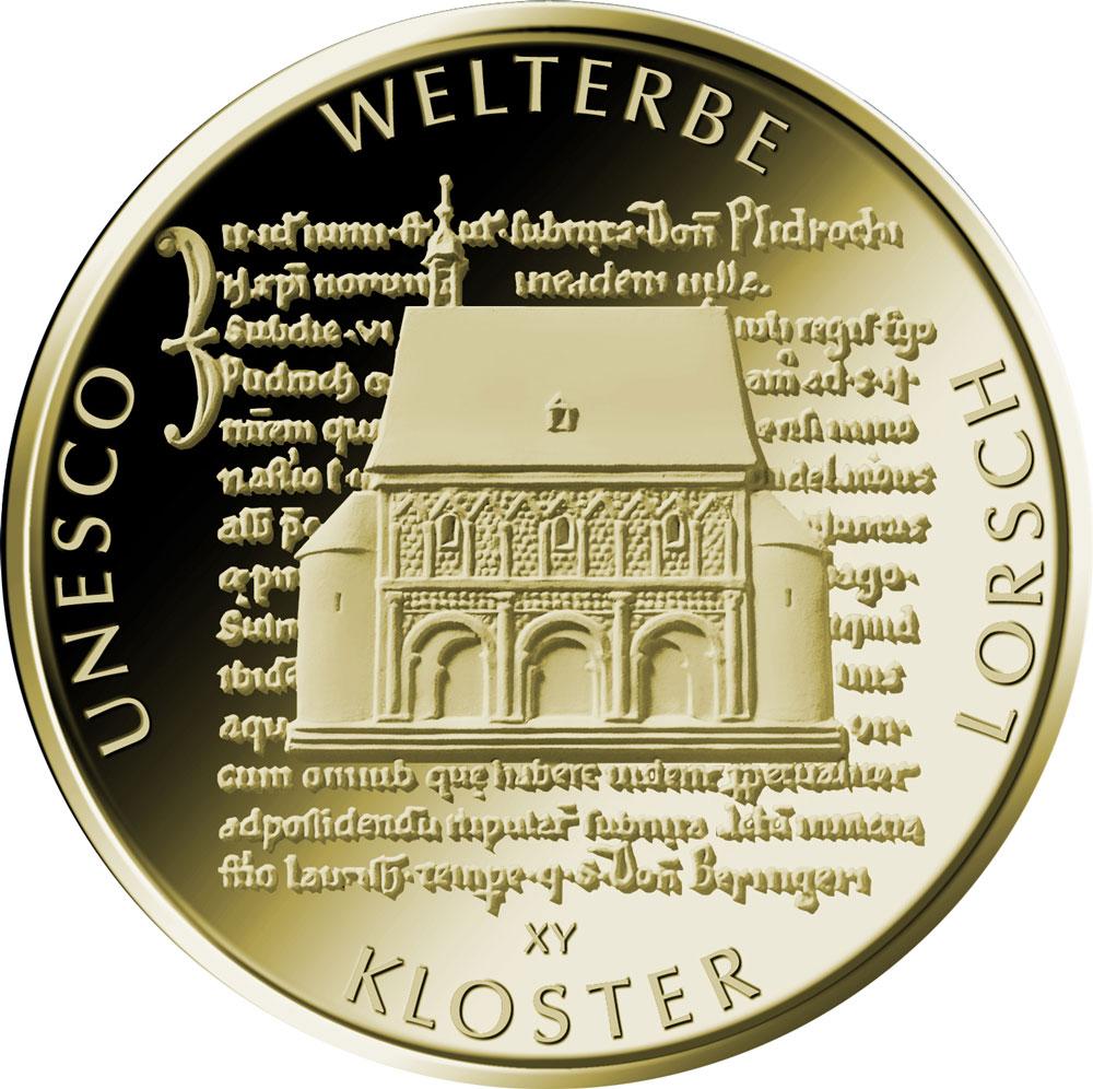 100 Euro Goldmünze UNESCO Welterbe Lorsch Bildseite 100 Euro Goldmünze Kloster Lorsch