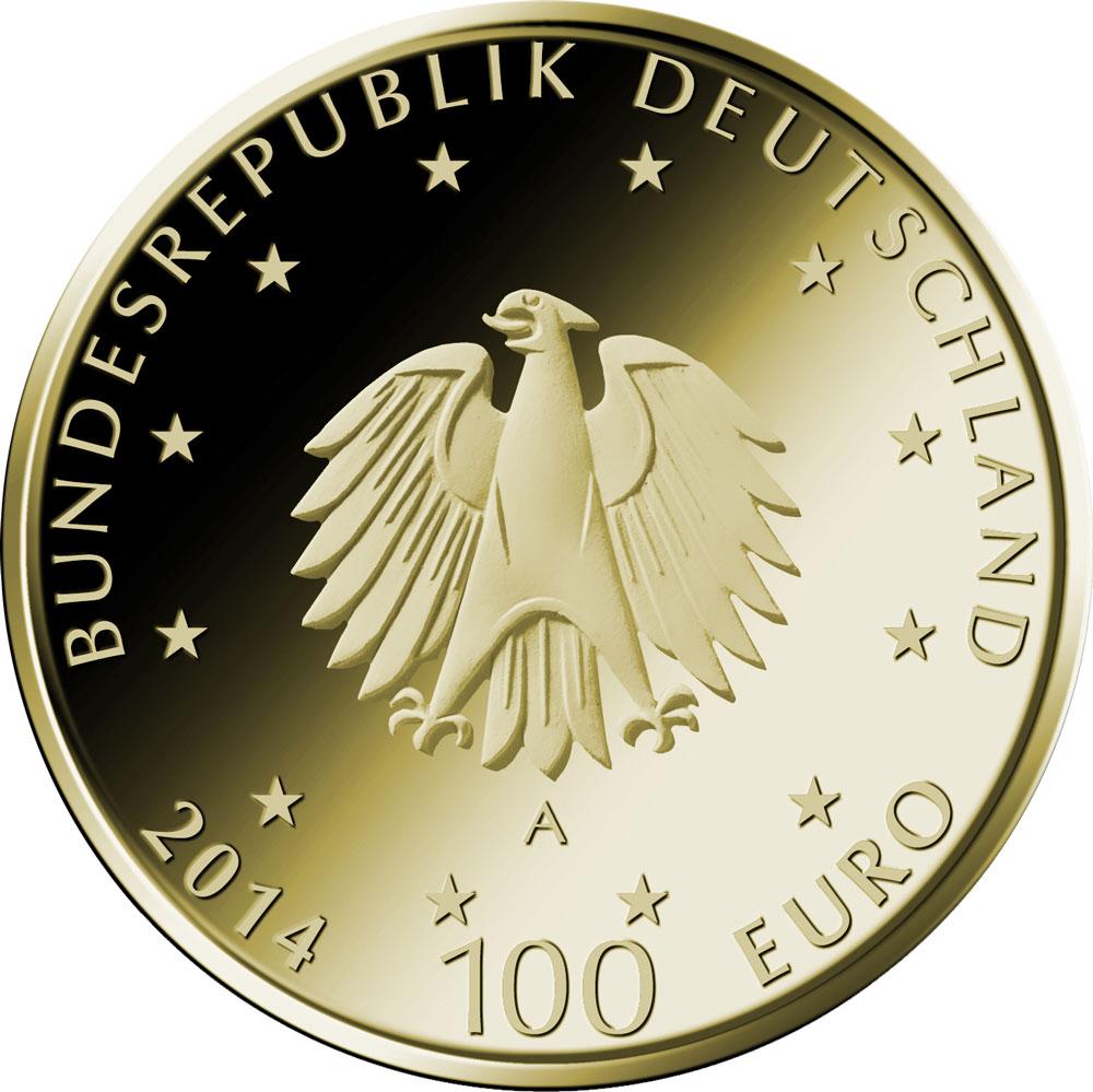 100 Euro Goldmünze UNESCO Welterbe Lorsch Wertseite 100 Euro Goldmünze Kloster Lorsch