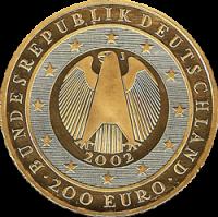 200 Euro Goldmünze Deutschland Wertseite Deutsche Goldmünzen in Euro