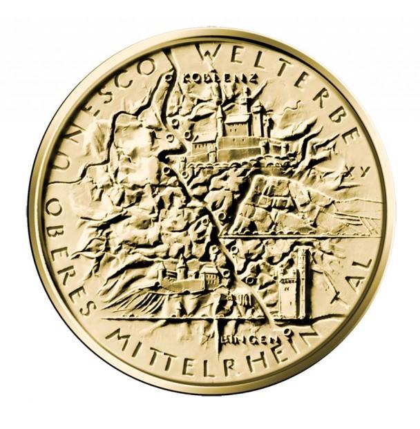 100 Euro Goldmünze UNESCO Weltkulturerbe Oberes Mittelrheintal Bildseite 608x621 100 Euro Goldmünze Oberes Mittelrheintal