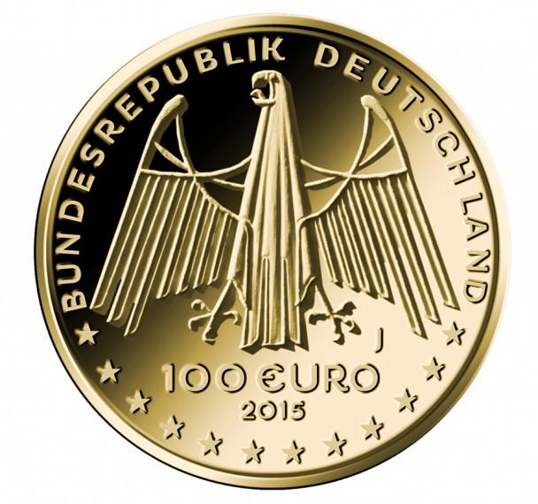 100 Euro Goldmünze UNESCO Weltkulturerbe Oberes Mittelrheintal Wertseite 608x570 100 Euro Goldmünze Oberes Mittelrheintal