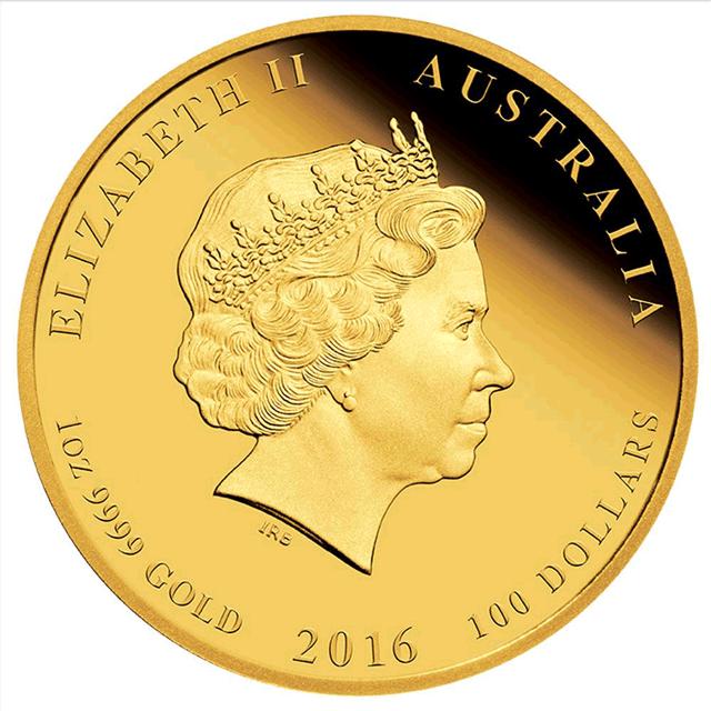 Australischer Lunar 2016 Jahr des Affen Goldmünze Wertseite Australischer Lunar – Das Jahr des Affen 2016