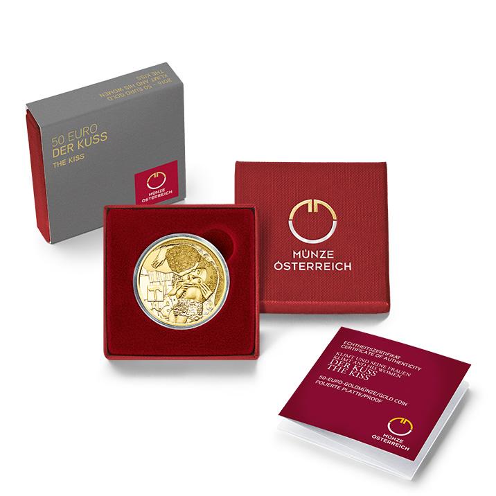 Klimt Goldmünze Der Kuss 50 Euro Goldmünze   Der Kuss